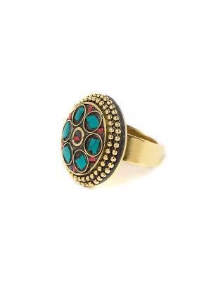 Кольцо Малахит MZ0284 Indira. Цвет: зеленый