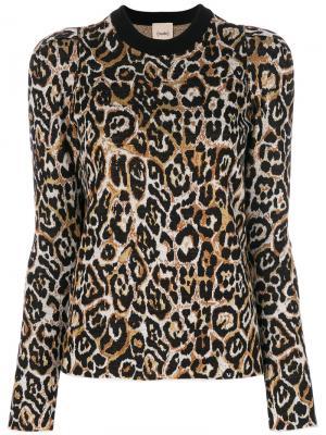 Леопардовый джемпер с подплечиками Nude. Цвет: чёрный