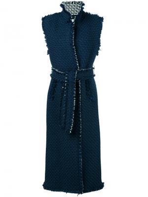 Пальто с необработанными краями Gianluca Capannolo. Цвет: синий