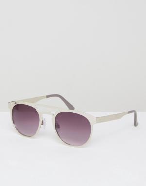 Jeepers Peepers Круглые солнцезащитные очки в серебристой металлической оправе. Цвет: серебряный