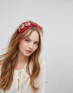 Johnny Loves Rosie Широкая повязка на голову с отделкой. Цвет: красный