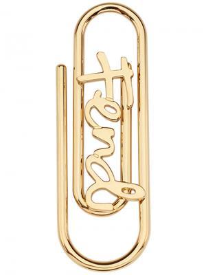 Брелок для ключей в виде скрепки с логотипом Fendi. Цвет: металлический