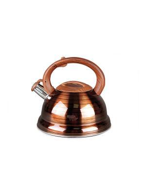 Чайник 2,7л со свистком, деревян,ручка Green Top. Цвет: коричневый
