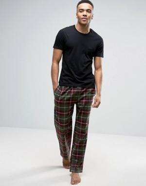 Bjorn Borg Клетчатые штаны цвета хаки для дома. Цвет: зеленый