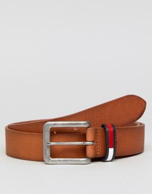 Tommy Jeans Светло-коричневый кожаный ремень шириной 3,5 см с логотипом Jean. Цвет: рыжий