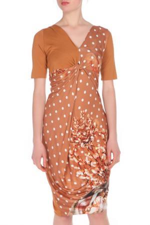 Платье Oblique. Цвет: коричневый, белый