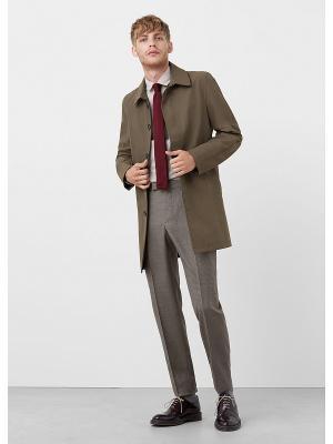 Пальто MANGO MAN. Цвет: темно-зеленый