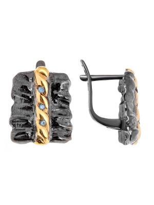 Серьги Балтийское золото. Цвет: черный, голубой