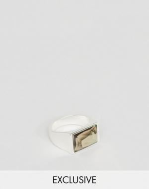 DesignB London Кольцо с черным камнем. Цвет: серебряный