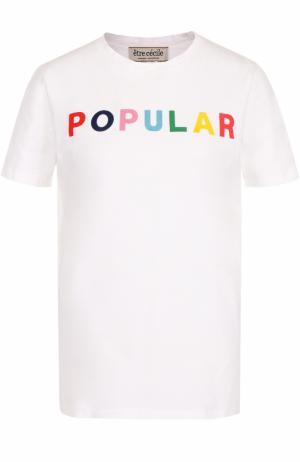Хлопковая футболка с контрастной надписью Etre Cecile. Цвет: белый