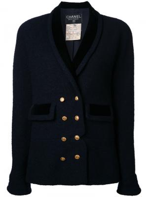 Double breasted shawl collar jacket Chanel Vintage. Цвет: синий