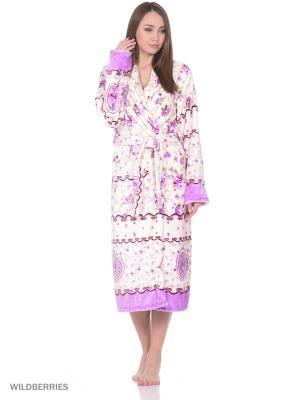 Халат женский MARSOFINA. Цвет: фиолетовый, молочный