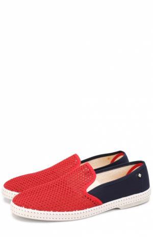 Плетеные текстильные эспадрильи Rivieras Leisure Shoes. Цвет: красный