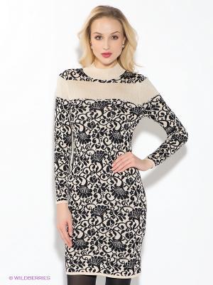 Платье Oodji. Цвет: черный, молочный