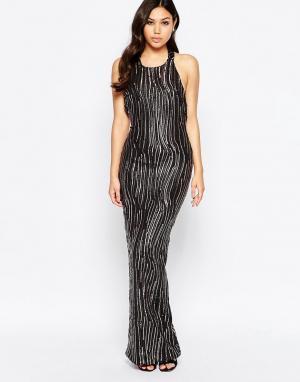 Girl In Mind Платье макси с глубоким вырезом и пайетками Leone Premium. Цвет: черный