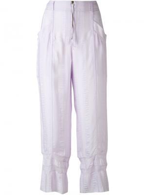 Укороченные полосатые брюки Philosophy Di Lorenzo Serafini. Цвет: розовый и фиолетовый