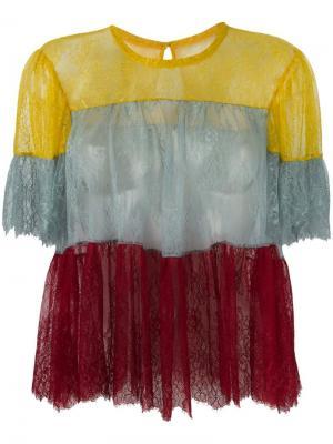 Кружевная прозрачная блузка Philosophy Di Lorenzo Serafini. Цвет: многоцветный