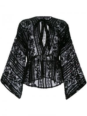 Блузка с вышивкой For Love And Lemons. Цвет: чёрный
