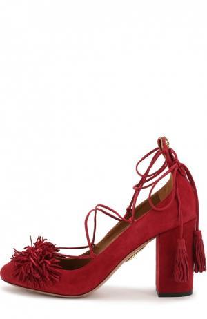 Замшевые туфли Wild с бахромой Aquazzura. Цвет: бордовый