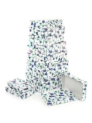 Набор из 10 картонных коробок 23*13*3-36,5*26,5*12см,  Ирисы VELD-CO. Цвет: темно-фиолетовый, белый, сиреневый