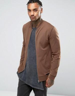 ASOS Обтягивающая трикотажная куртка-пилот с потертостями. Цвет: коричневый