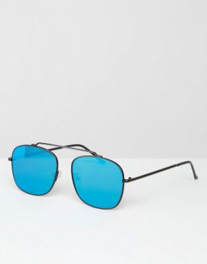 Spitfire Солнцезащитные очки-авиаторы с плоскими стеклами. Цвет: черный