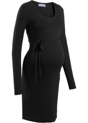 Мода для беременных: вязаное платье с поясом (черный) bonprix. Цвет: черный