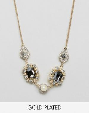 Johnny Loves Rosie Броское ожерелье с камнями. Цвет: золотой