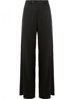 Расклешенные брюки с драпировкой Moohong. Цвет: чёрный