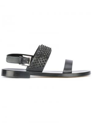 Studded trim sandals Louis Leeman. Цвет: чёрный