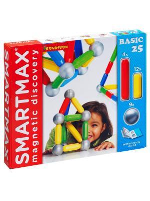 Магнитный конструктор SmartMax/ Bondibon Основной (Basic) набор 25 дет.,арт.301. Цвет: белый, красный, синий