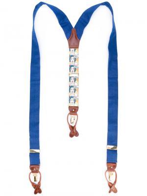 Подтяжки в отделкой стиле поп-арт Albert Thurston. Цвет: синий