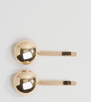 DesignB London Две заколки для волос с дисками. Цвет: золотой