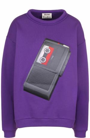 Хлопковый свитшот свободного кроя с принтом Acne Studios. Цвет: фиолетовый