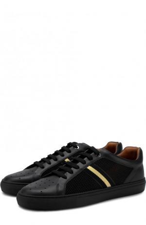 Кожаные кеды на шнуровке с текстильными вставками Bally. Цвет: черный