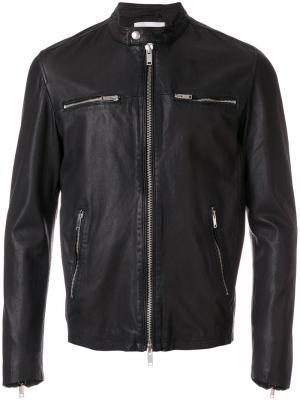 Кожаная куртка с воротником-стойкой Dondup. Цвет: чёрный