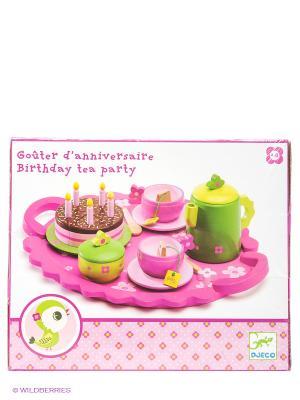 Столовый набор День рождения DJECO. Цвет: розовый