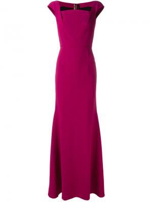 Вечернее платье с короткими рукавами Roland Mouret. Цвет: розовый и фиолетовый