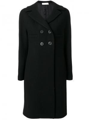 Классическое приталенное пальто Mantu. Цвет: чёрный