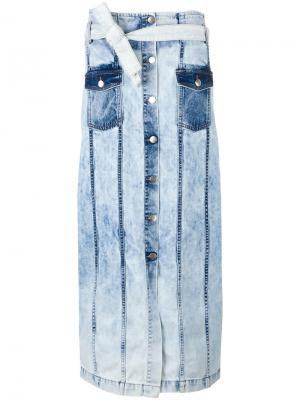 Джинсовая юбка на пуговицах Each X Other. Цвет: синий