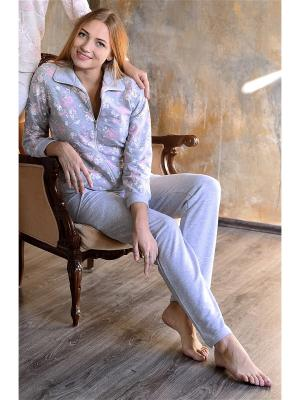 Костюм (кофта и штаны) Весталия. Цвет: серый, бледно-розовый