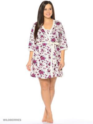 Комплект домашней одежды ( халат, ночная сорочка) HomeLike. Цвет: бордовый, молочный