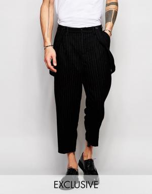 Black Eye Rags Шерстяные брюки с заниженным шаговым швом и подтяжками. Цвет: черный