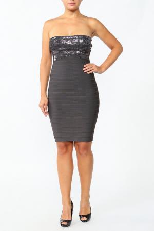 Платье Herve Leger. Цвет: серый