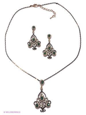 Комплект Lovely Jewelry. Цвет: зеленый, золотистый, черный