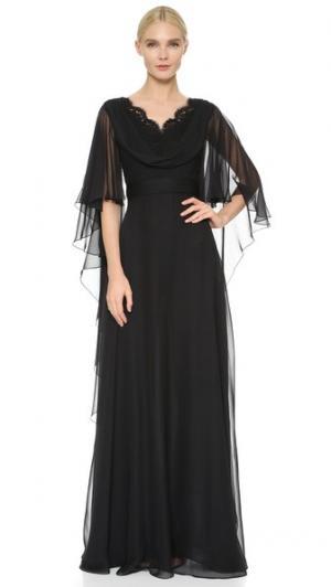 Вечернее платье из шелкового шифона с воротником-хомутом Reem Acra. Цвет: голубой
