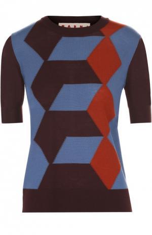 Шерстяной пуловер с коротким рукавом и контрастным принтом Marni. Цвет: бордовый