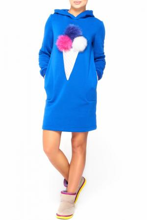 Теплое платье с капюшоном Majaly. Цвет: электрик