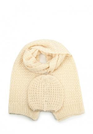 Комплект шапка и шарф Pieces. Цвет: бежевый