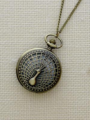 Кулон-часы Павлин (большой) Mitya Veselkov. Цвет: бронзовый